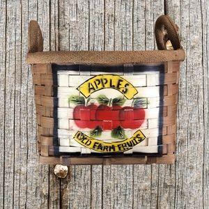 Large painted wicker apple basket.